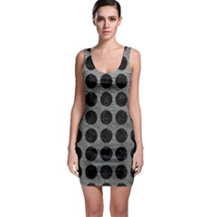 Circles1 Black Marble & Gray Leather (r) Bodycon Dress