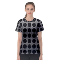 Circles1 Black Marble & Gray Leather (r) Women s Sport Mesh Tee