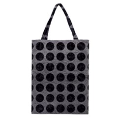 Circles1 Black Marble & Gray Leather (r) Classic Tote Bag