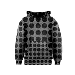 Circles1 Black Marble & Gray Leather (r) Kids  Pullover Hoodie