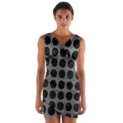 Circles1 Black Marble & Gray Leather (r) Wrap Front Bodycon Dress