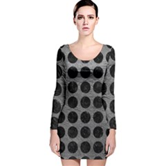 Circles1 Black Marble & Gray Leather (r) Long Sleeve Velvet Bodycon Dress