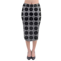 Circles1 Black Marble & Gray Leather (r) Midi Pencil Skirt