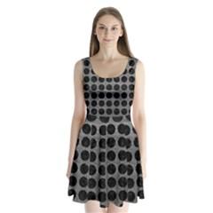 Circles1 Black Marble & Gray Leather (r) Split Back Mini Dress