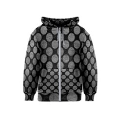 Circles2 Black Marble & Gray Leather Kids  Zipper Hoodie