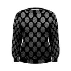 Circles2 Black Marble & Gray Leather Women s Sweatshirt