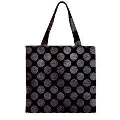 Circles2 Black Marble & Gray Leather Zipper Grocery Tote Bag