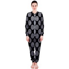 Circles2 Black Marble & Gray Leather Onepiece Jumpsuit (ladies)