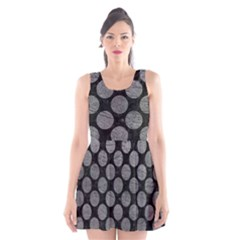 Circles2 Black Marble & Gray Leather Scoop Neck Skater Dress