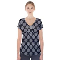 Circles2 Black Marble & Gray Leather Short Sleeve Front Detail Top
