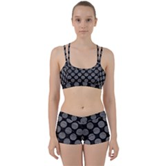 Circles2 Black Marble & Gray Leather Women s Sports Set