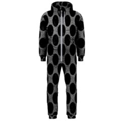 Circles2 Black Marble & Gray Leather (r) Hooded Jumpsuit (men)