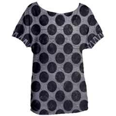 Circles2 Black Marble & Gray Leather (r) Women s Oversized Tee