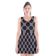 Circles2 Black Marble & Gray Leather (r) Scoop Neck Skater Dress