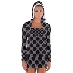 Circles2 Black Marble & Gray Leather (r) Long Sleeve Hooded T Shirt