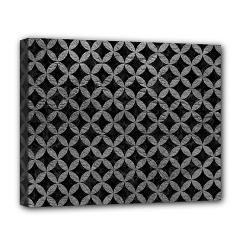 Circles3 Black Marble & Gray Leather Deluxe Canvas 20  X 16
