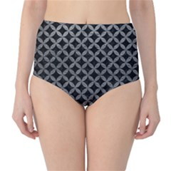 Circles3 Black Marble & Gray Leather High Waist Bikini Bottoms