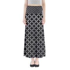 Circles3 Black Marble & Gray Leather Full Length Maxi Skirt