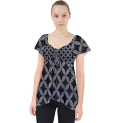 Circles3 Black Marble & Gray Leather Lace Front Dolly Top