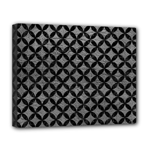 Circles3 Black Marble & Gray Leather (r) Deluxe Canvas 20  X 16