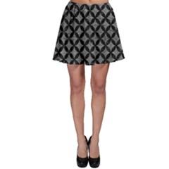Circles3 Black Marble & Gray Leather (r) Skater Skirt