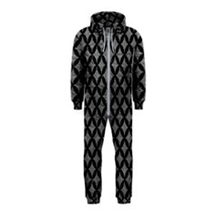 Circles3 Black Marble & Gray Leather (r) Hooded Jumpsuit (kids)