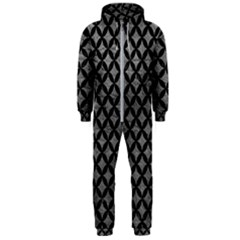 Circles3 Black Marble & Gray Leather (r) Hooded Jumpsuit (men)