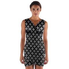 Circles3 Black Marble & Gray Leather (r) Wrap Front Bodycon Dress