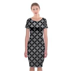 Circles3 Black Marble & Gray Leather (r) Classic Short Sleeve Midi Dress