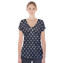 Circles3 Black Marble & Gray Leather (r) Short Sleeve Front Detail Top