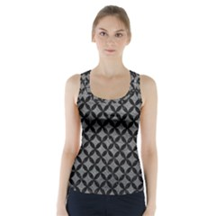 Circles3 Black Marble & Gray Leather (r) Racer Back Sports Top