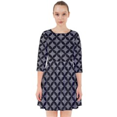 Circles3 Black Marble & Gray Leather (r) Smock Dress