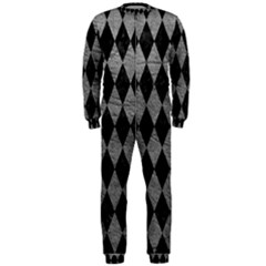 Diamond1 Black Marble & Gray Leather Onepiece Jumpsuit (men)