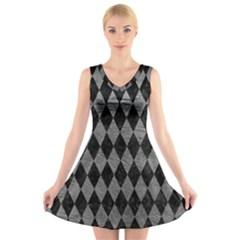 Diamond1 Black Marble & Gray Leather V Neck Sleeveless Skater Dress