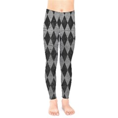 Diamond1 Black Marble & Gray Leather Kids  Legging