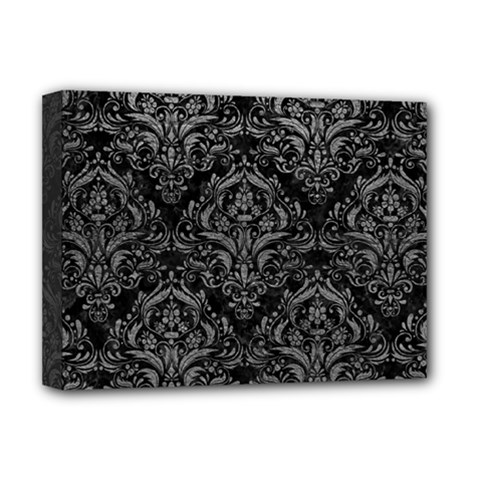 Damask1 Black Marble & Gray Leather Deluxe Canvas 16  X 12