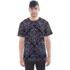 Damask1 Black Marble & Gray Leather Men s Sports Mesh Tee