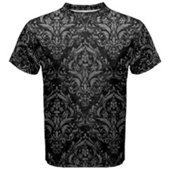 Damask1 Black Marble & Gray Leather Men s Cotton Tee