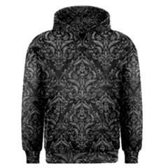 Damask1 Black Marble & Gray Leather Men s Pullover Hoodie