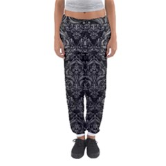 Damask1 Black Marble & Gray Leather Women s Jogger Sweatpants