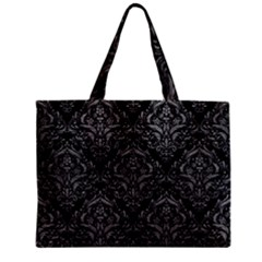 Damask1 Black Marble & Gray Leather Zipper Mini Tote Bag