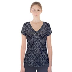 Damask1 Black Marble & Gray Leather Short Sleeve Front Detail Top