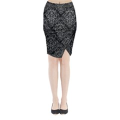 Damask1 Black Marble & Gray Leather Midi Wrap Pencil Skirt