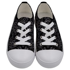 Damask1 Black Marble & Gray Leather Kids  Low Top Canvas Sneakers