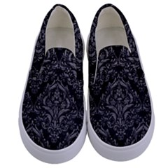 Damask1 Black Marble & Gray Leather Kids  Canvas Slip Ons