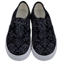 Damask1 Black Marble & Gray Leather Kids  Classic Low Top Sneakers