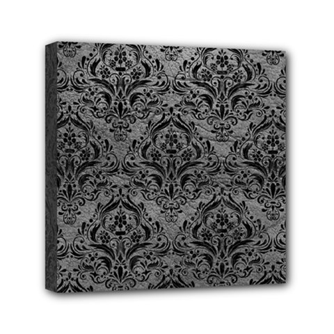 Damask1 Black Marble & Gray Leather (r) Mini Canvas 6  X 6