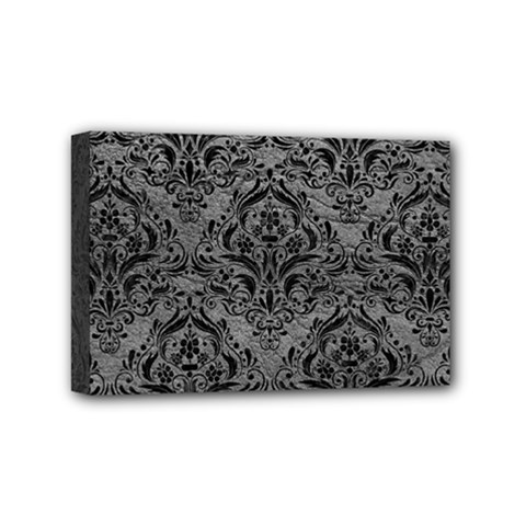 Damask1 Black Marble & Gray Leather (r) Mini Canvas 6  X 4