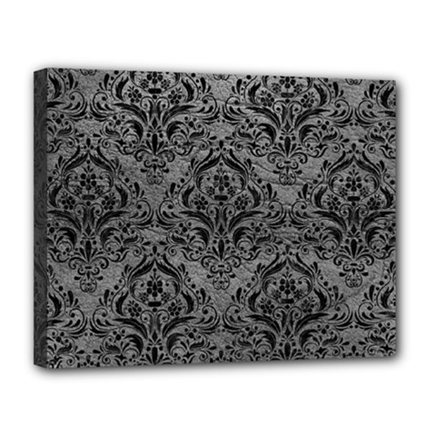 Damask1 Black Marble & Gray Leather (r) Canvas 14  X 11