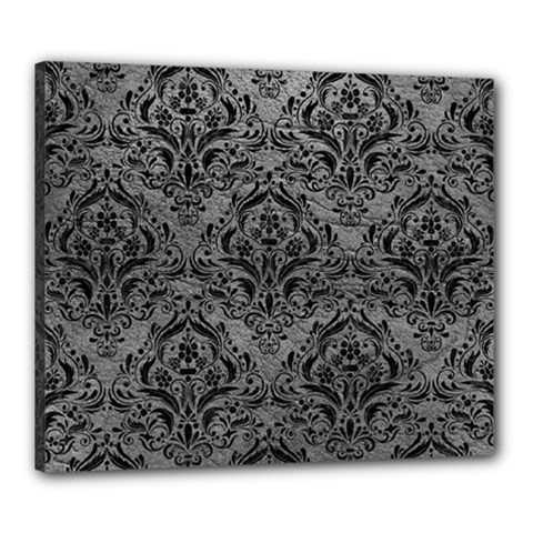 Damask1 Black Marble & Gray Leather (r) Canvas 24  X 20